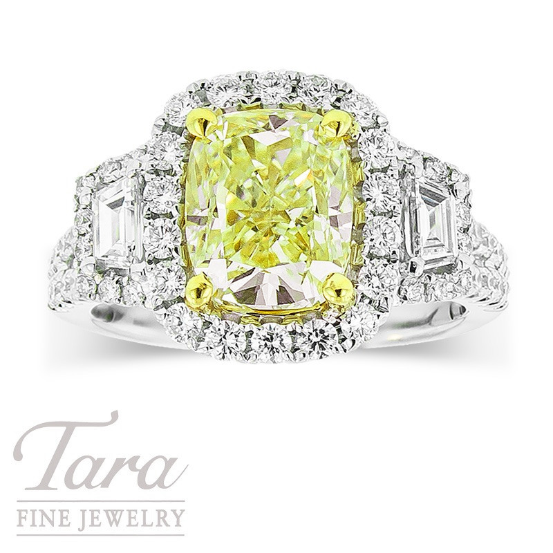 Forevermark Fancy Yellow Diamond Ring 3.01CT Center, .75TDW Halo, .32TDW Accents, in 18K Two Tone Gold