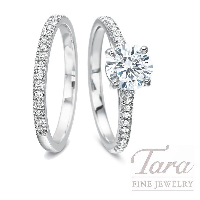 18k White Gold Diamond Wedding Set, 1.01CT Round Diamond, .27TDW (Center Stone Sold Separately)