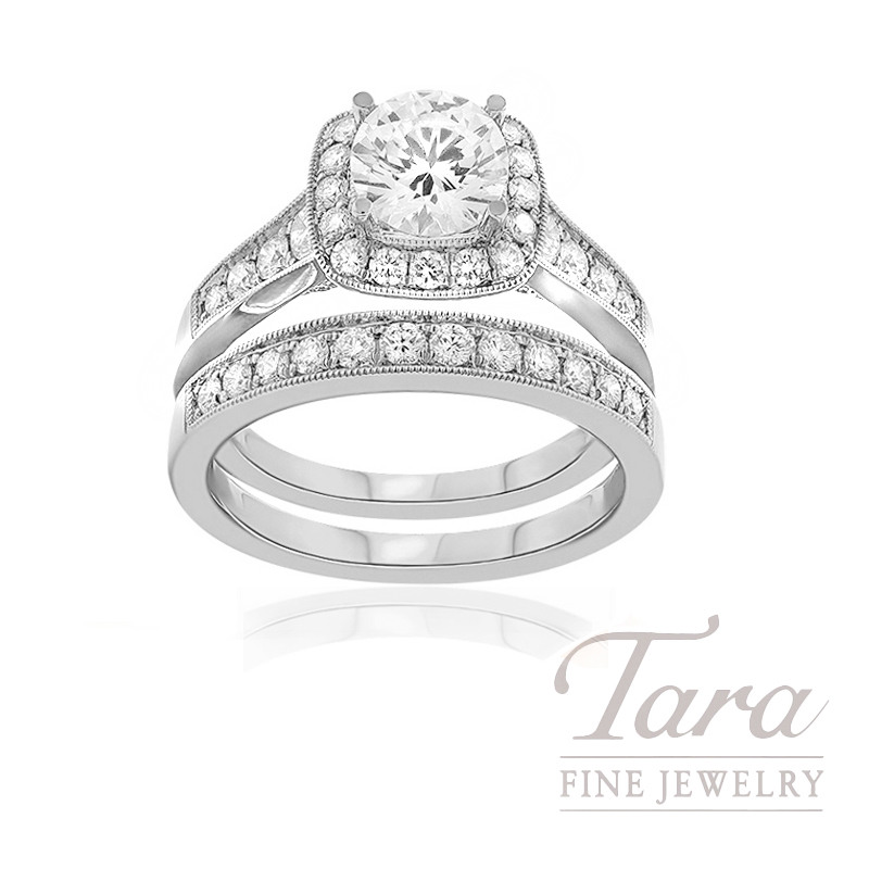 18k White Gold Diamond Halo Wedding Set (Center Stone Sold Separately) - Click for Available Sizes!