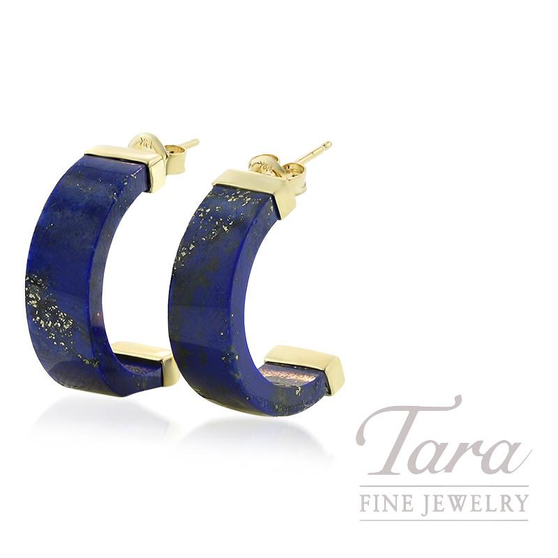 14K Yellow Gold Lapis Earrings, 5.2G