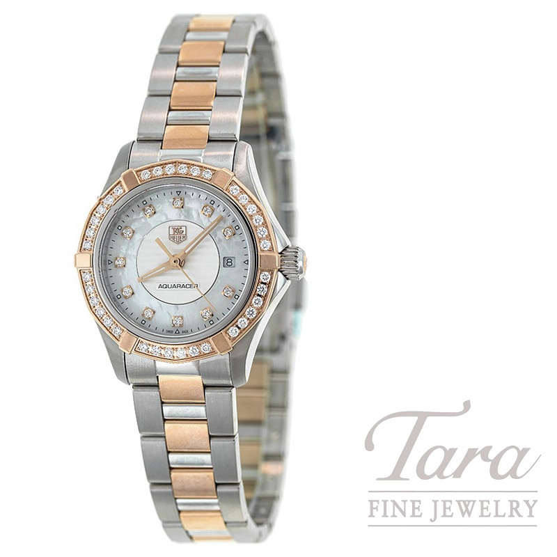Tag Heuer Watch 27mm Aquaracer, Mother Of Pearl and Diamond Dial, .45TDW