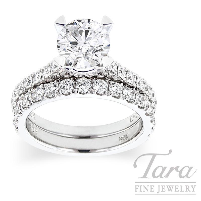 18K White Gold Diamond Wedding Set, .82TDW (Center Stone Sold Separately)