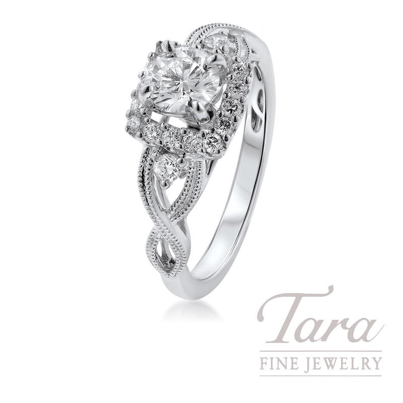 14K White Gold Diamond Halo Engagement Ring, .48 Center Diamond, .25TDW