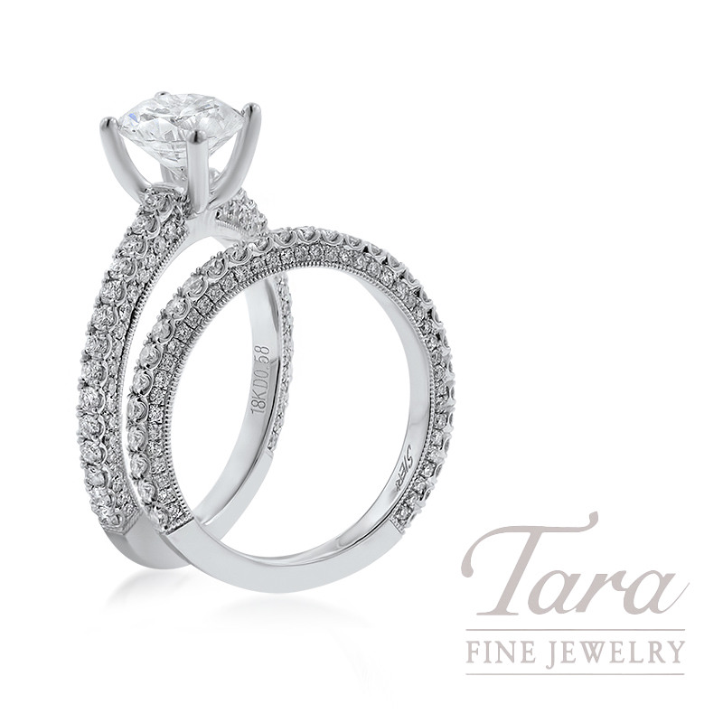 18K White Gold Pave Diamond Wedding Set, 1.16TDW (Center Stone Sold Separately)