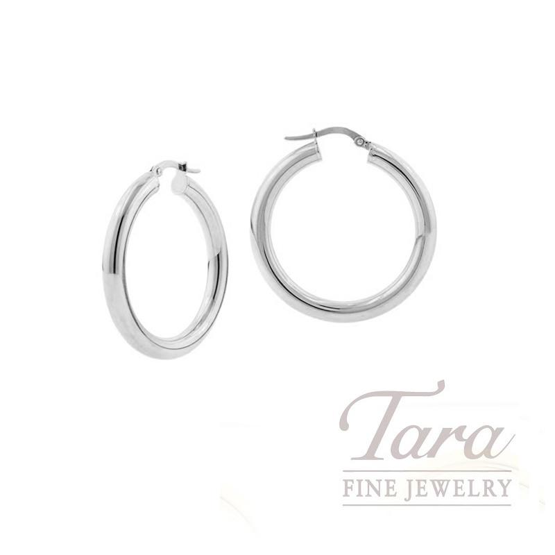 14k White Gold Small Hoop Earrings