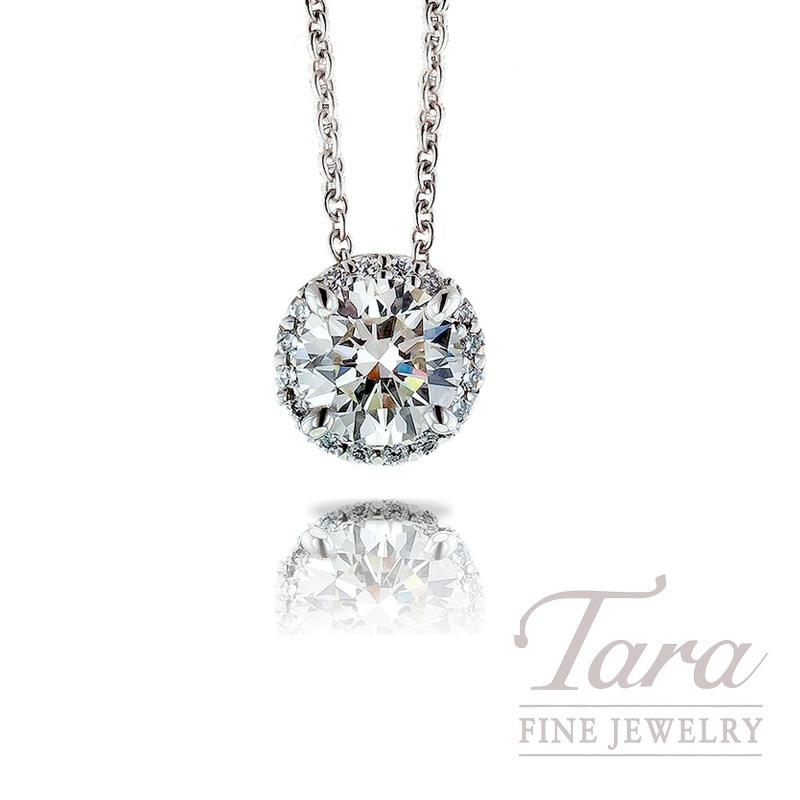 Ritani 18k White Gold Diamond Pendant with Chain , .71CT Forevermark Round Center Diamond, .08TDW Round Diamonds
