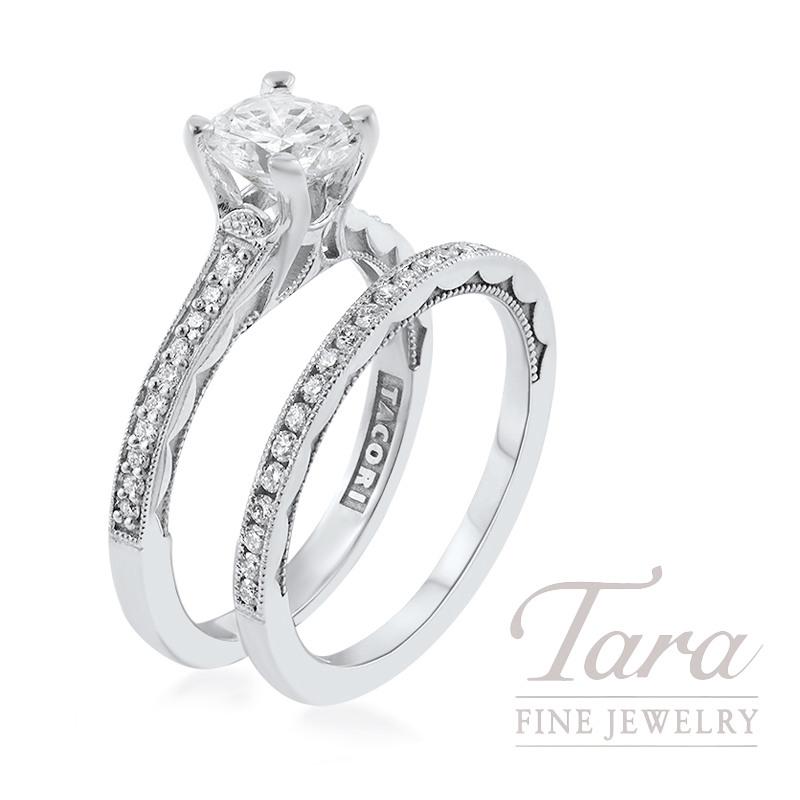 Tacori 18k White Gold Diamond Wedding Set, .98CT Round Diamond, .31TDW