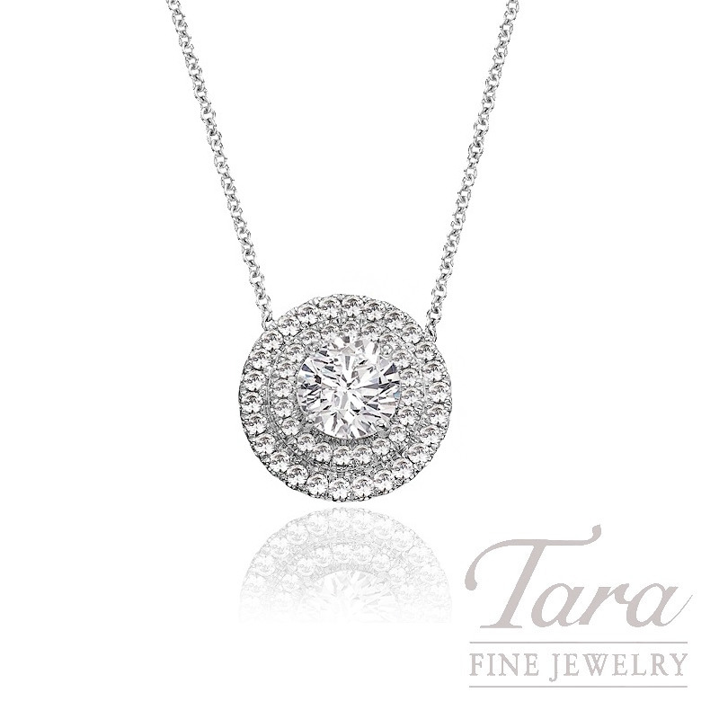 A. Jaffe 18K White Gold Double Halo Diamond Pendant (Center Stone Sold Separately) - Click for Available Sizes!