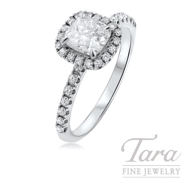 Forevermark Diamond Engagement Ring in 18k White Gold, 1.0CT Center Stone, .36TDW Halo Mounting