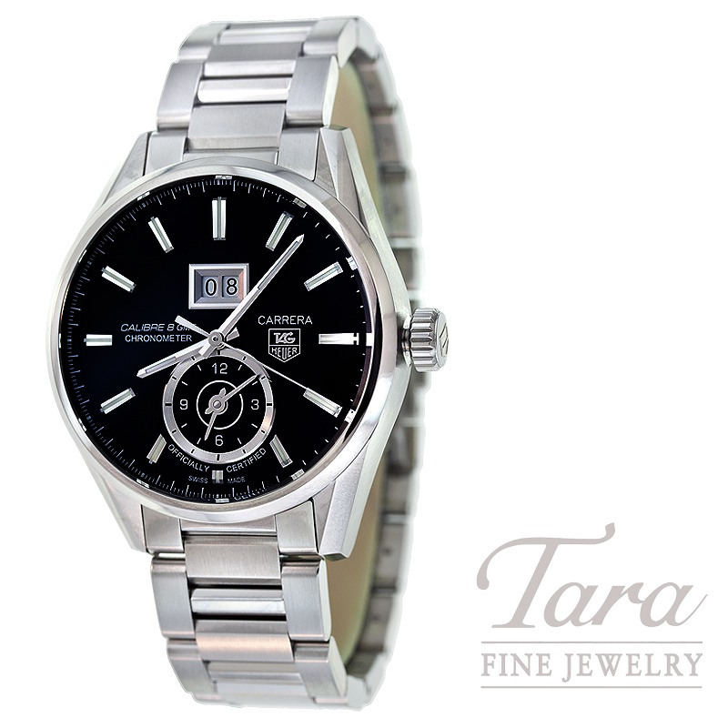 Tag Heuer Watch 41mm Carrera Grande Date GMT Automatic, Black Dial