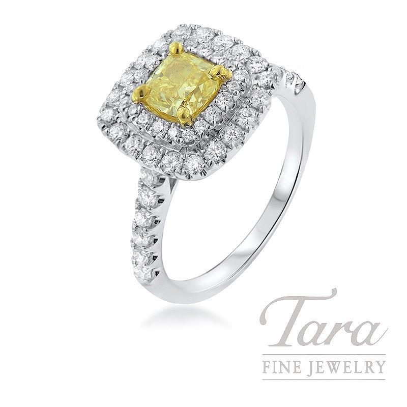 Forevermark 18K White Gold Diamond Ring, .74CT Yellow Diamond, .78TDW