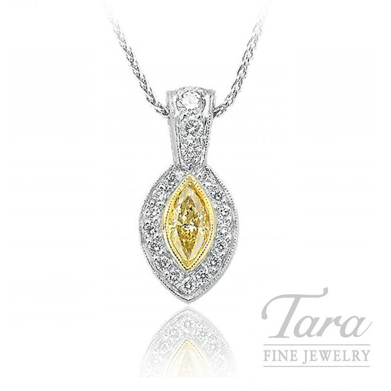 J.B. Star Platinum and 18k Yellow Gold Marquise Fancy Yellow Diamond Pendant, .74CT Fancy Yellow Diamond, .62TDW White Diamonds