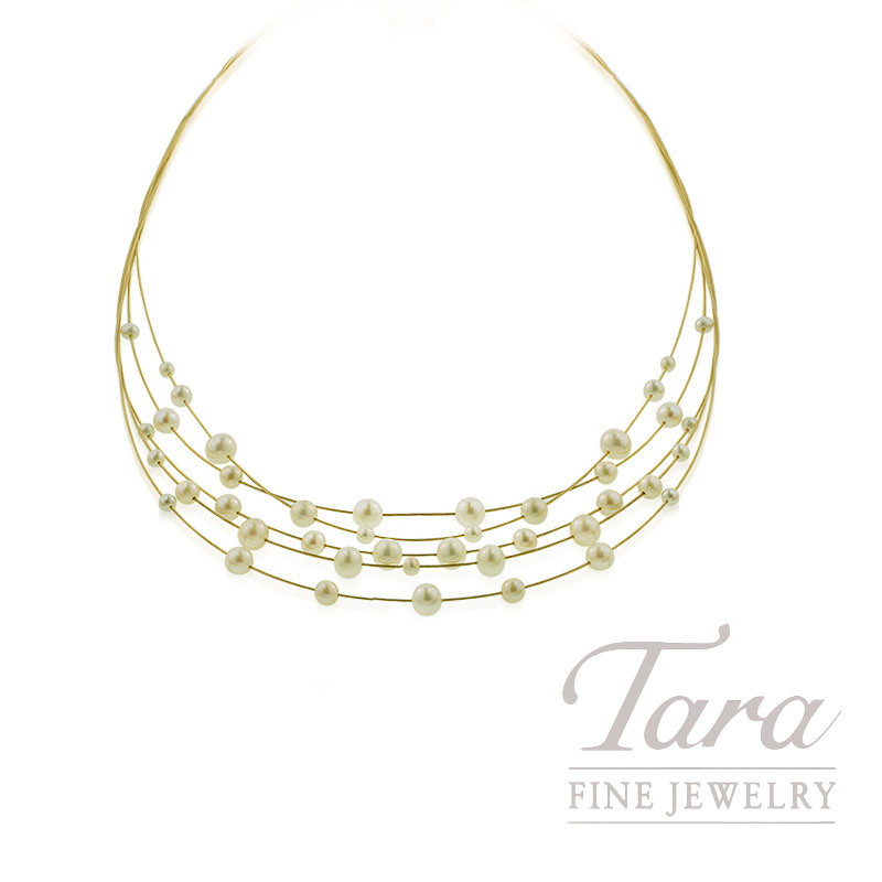 14K Yellow Gold Freshwater Pearl Necklace, 11.6g