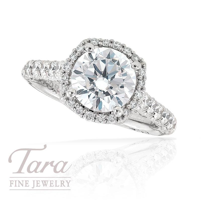 Tacori Diamond Engagement Ring in Platinum, .77 ctw (Center stone sold separately)