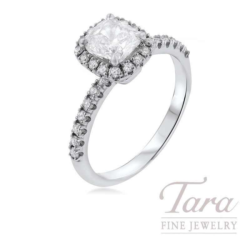 Forevermark Diamond Engagement Ring in 18k White Gold, 1.01CT Center Stone, .33TDW Halo Mounting
