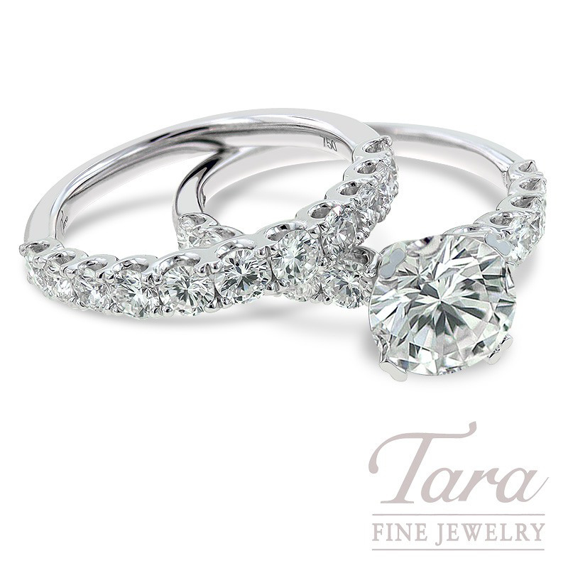 18k White Gold Diamond Engagement Ring and Band (Center Stone Sold Separately)