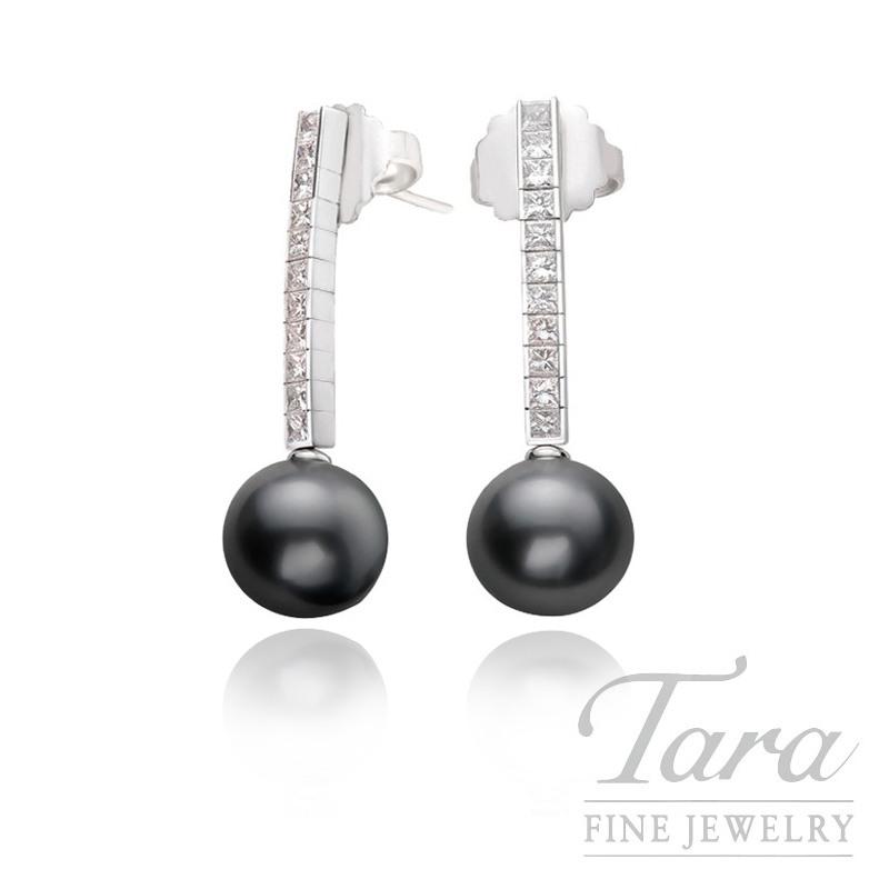 Mikimoto Silver Pearl & Diamond Earrings in 18K White Gold, 1.19ct tw