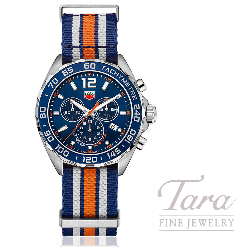 Tag Heuer Watch 43mm Formula 1 Chronograph Special Edition, Blue Bezel, Blue Sunray Dial, Blue & Orange NATO Strap
