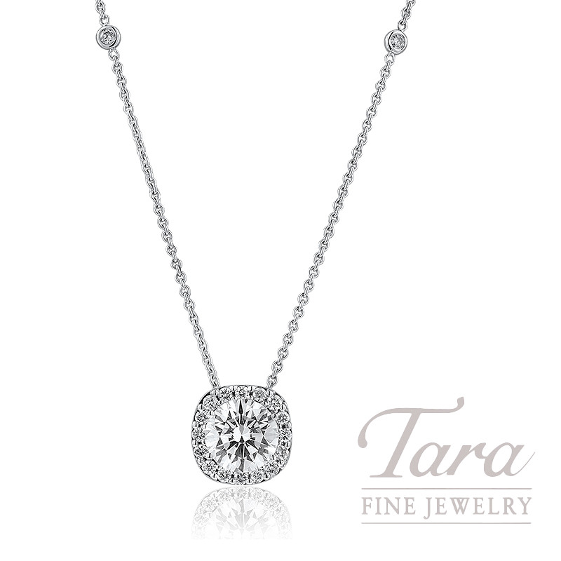 Forevermark Diamond Halo Pendant and Diamond Chain in 18K White Gold (Click For Available Sizes!)