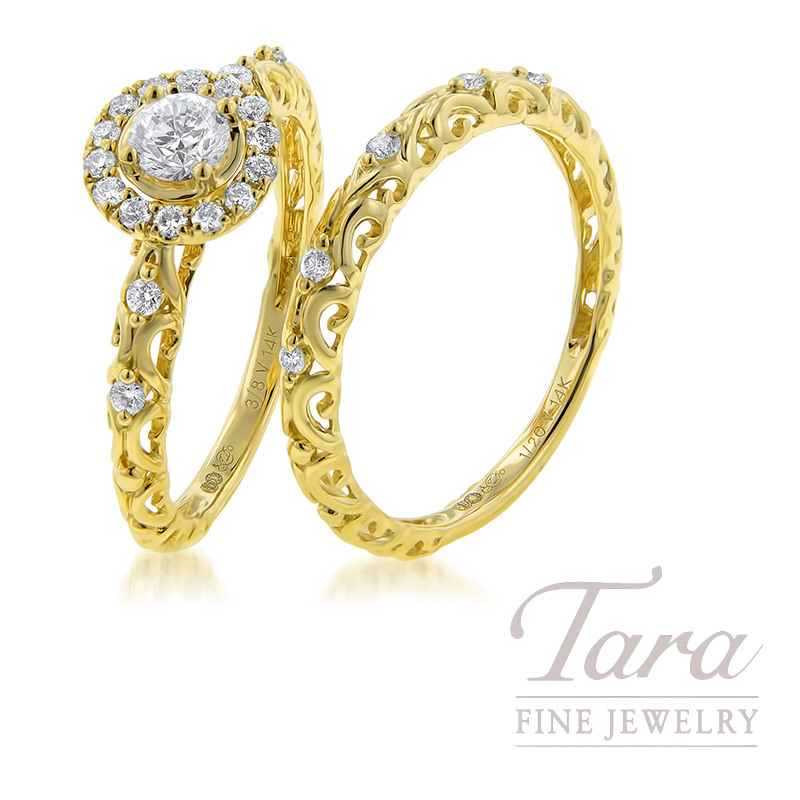 14k Yellow Gold Diamond Wedding Set, .25CT Center, .15TDW Semi-Mount