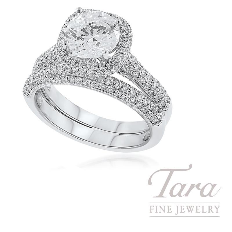 18k White Gold Pave Diamond Wedding Set (Center Stone Sold Separately)