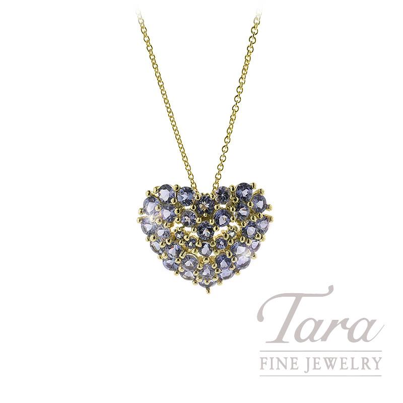 14K Yellow Gold Tanzanite Pave Heart Pendant, 3.7G