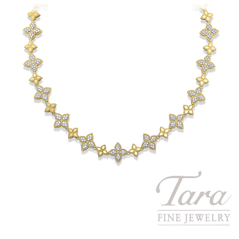 Roberto Coin 18K Two-Tone Flower Princess Diamond Necklace, 2.09TDW, Flower Princess Collection