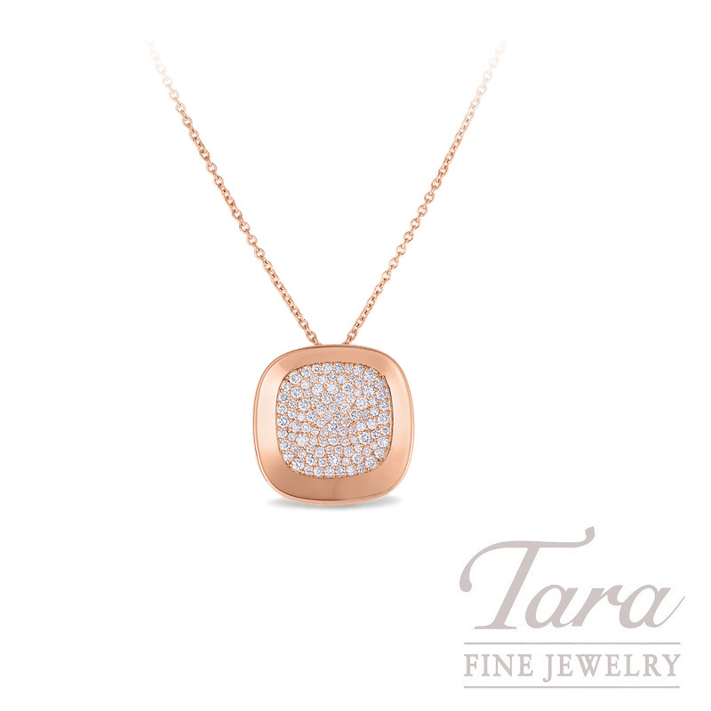 """Roberto Coin 18K Rose Gold Pave Diamond Pendant with Chain, .88TDW, """"Carnaby Street"""" Collection"""