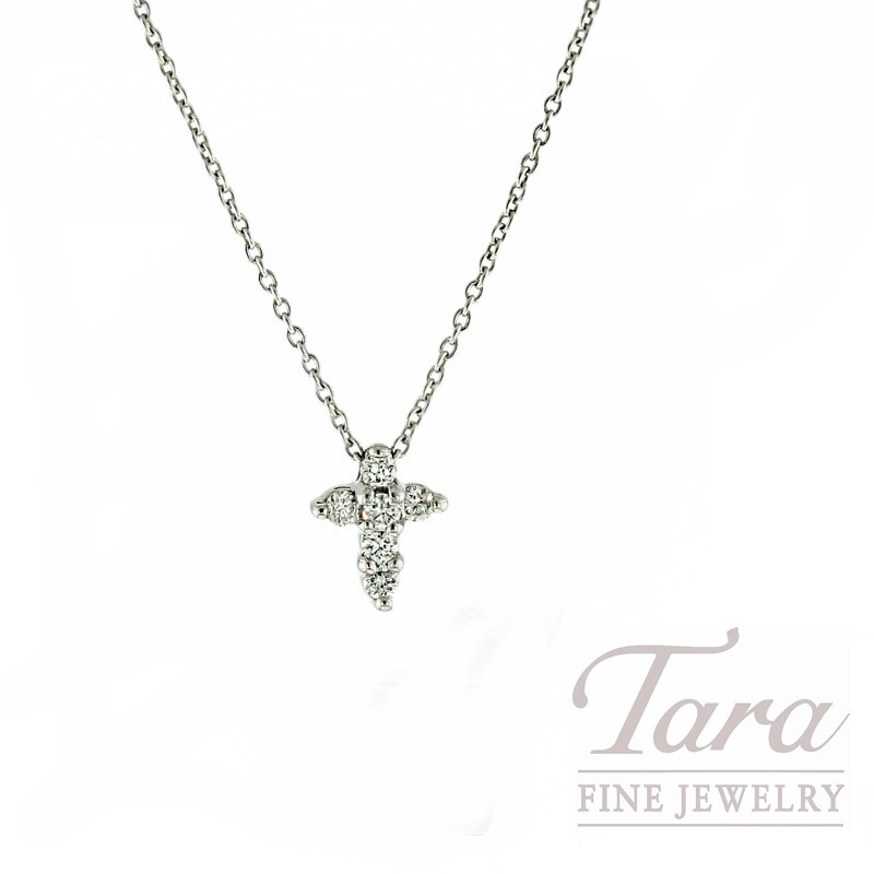 "Roberto Coin 18K White Gold Tiny Diamond Cross Necklace, 16/18"" Chain, 2.3G, .11TDW, ""Tiny Treasures Collection"""
