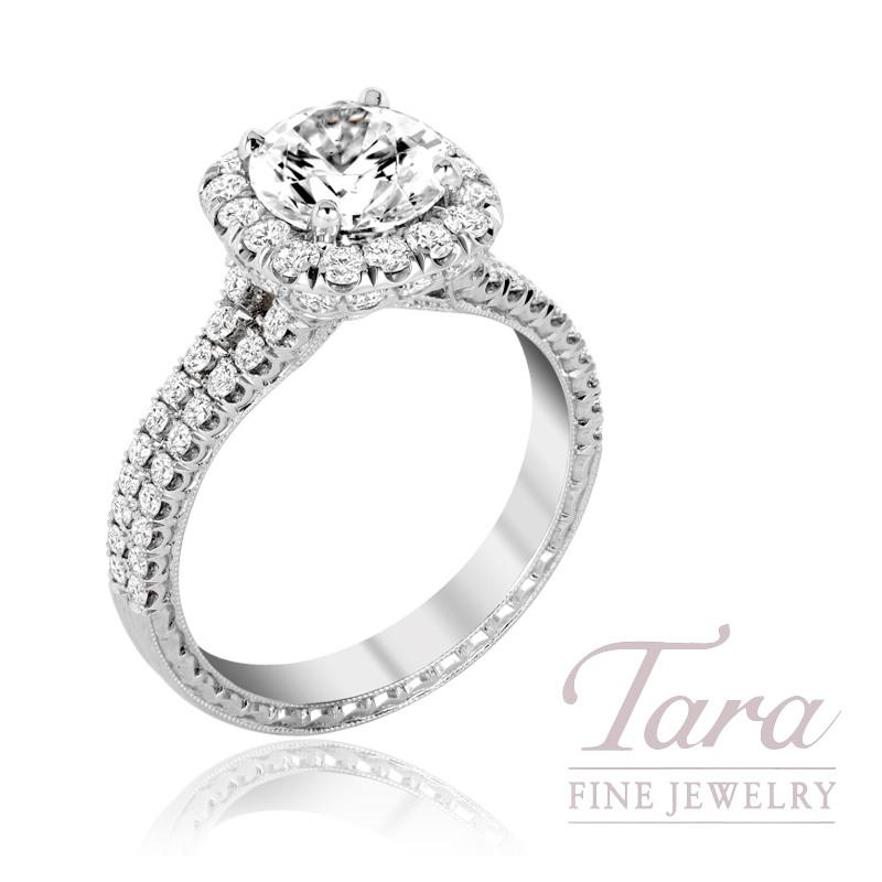 Jack Kelege 18K White Gold Diamond Halo Engagement Ring, 5.5G, 1.12TDW (Center Stone Sold Separately)