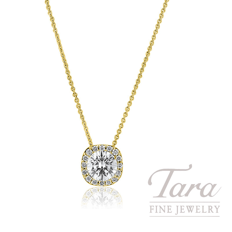 Forevermark 18k Yellow Gold Diamond Halo Pendant with Gold Chain (Click for Available Sizes!)
