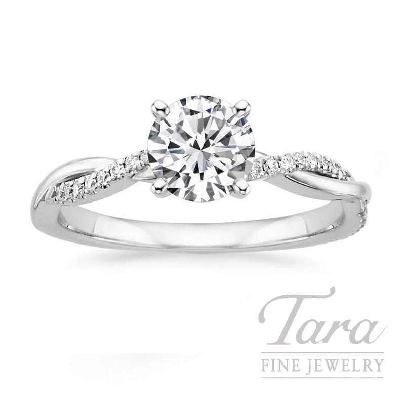 14K White Gold Diamond Engagement Ring, .28CT Center Diamond, .20TDW